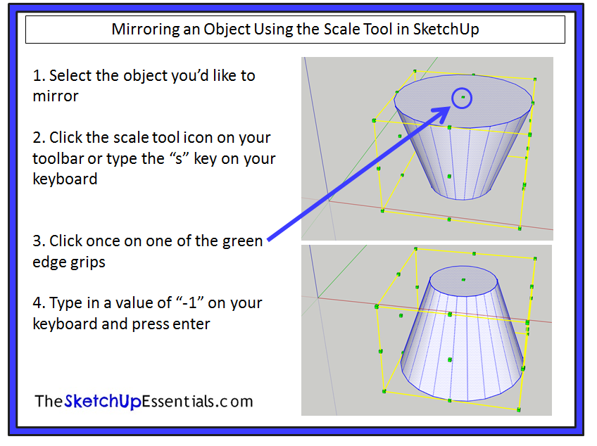 Modifying 3d shapes in sketchup using the scale tool the for Mirror in sketchup