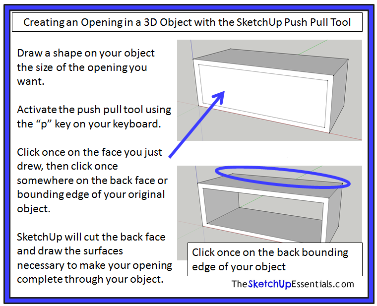 Using the Push/Pull and Offset Tools in SketchUp to Create Shapes