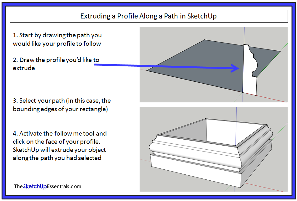 Extruding Shapes Along Paths with the SketchUp Follow Me Tool - The