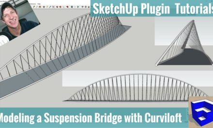 Creating a Suspension Bridge in SketchUp with Curviloft and Pipe Along Path