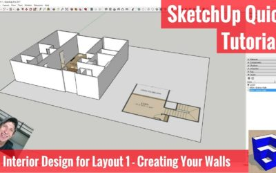SketchUp Interior Design for Layout 1 – Walls from a Floor Plan Image
